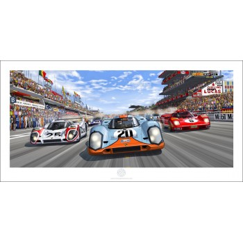 The race is ON - Art Print from Steve McQueen in Le Mans comic