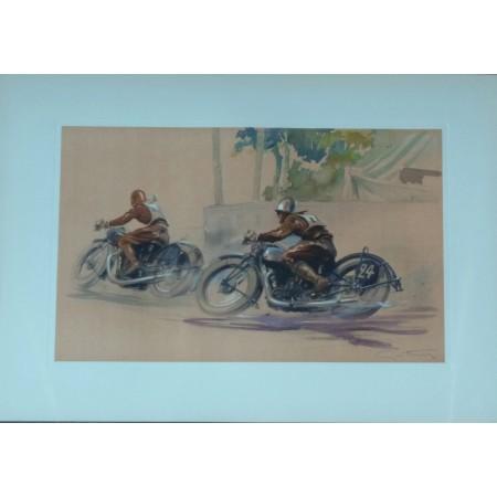 Course de motos Lithographie originale de Geo Ham