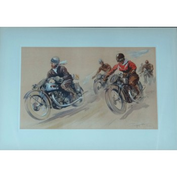 Course de motards lithographie originale de Geo Ham