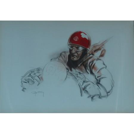 Pilote au casque rouge, lithographie originale de Geo Ham