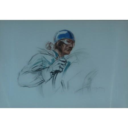 Pilote au casque bleu Lithographie originale de Geo Ham