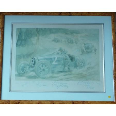 Grand prix du Cap d'Antibes 1928 lithographie originale de Geo Ham
