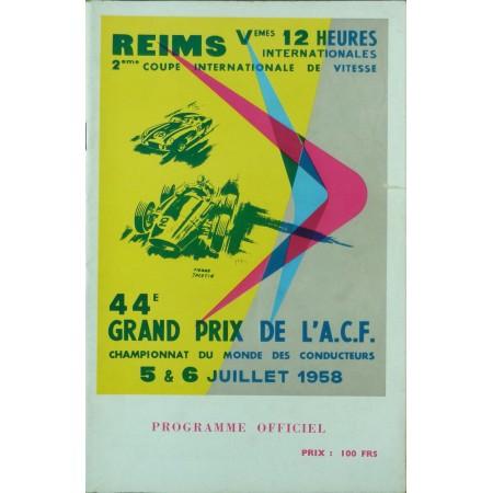 PROGRAMME GRAND PRIX DE L'ACF 1958 (REIMS)