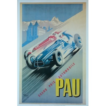 Affiche Grand Prix de Pau 1949-1950, Reproduction