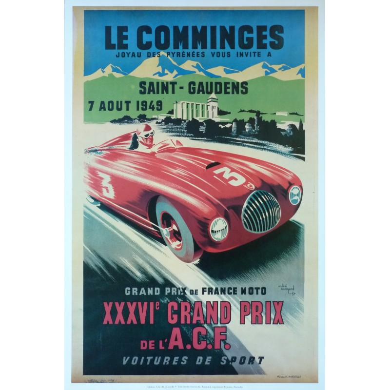affiche grand prix de l 39 acf 1949 au comminges saint. Black Bedroom Furniture Sets. Home Design Ideas