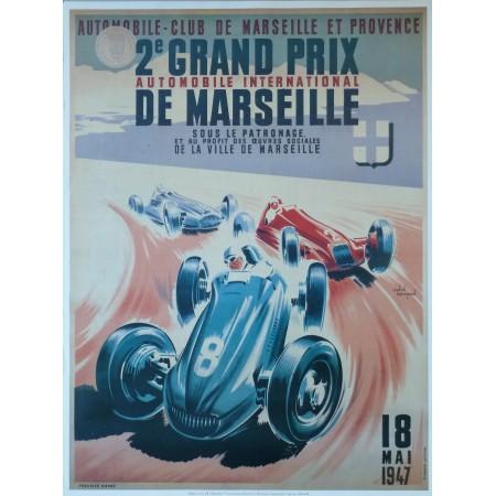 Affiche Grand Prix de Marseille 1947, Reproduction